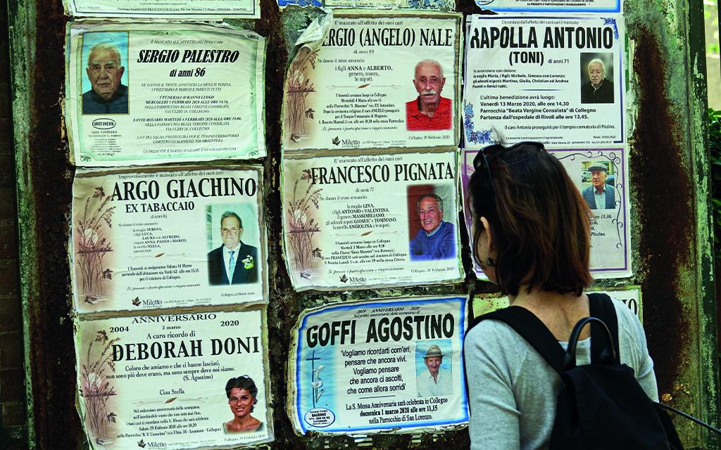 affissione dei manifesti funebri